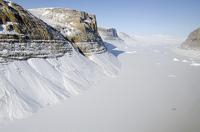 A glacial canyon in northern Greenland as seen by NASA's P-3B aircraft on May 3, 2012. Photo: Michael Studinger/NASA