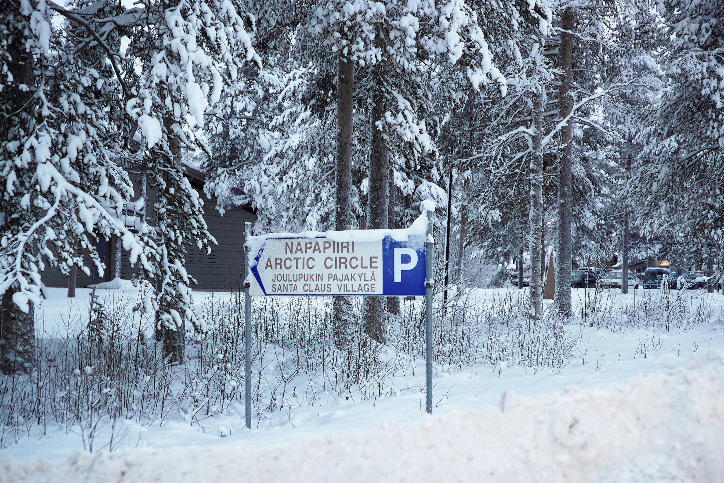 Rovaniemi, Finland - January 3, 2013: Sign of Santa Claus village in Rovaniemi that is in Lapland, in Finland on the Arctic pole circle